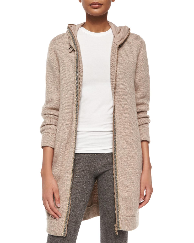 Brunello cucinelli Monili-trim Cashmere Sweater Coat in Natural | Lyst