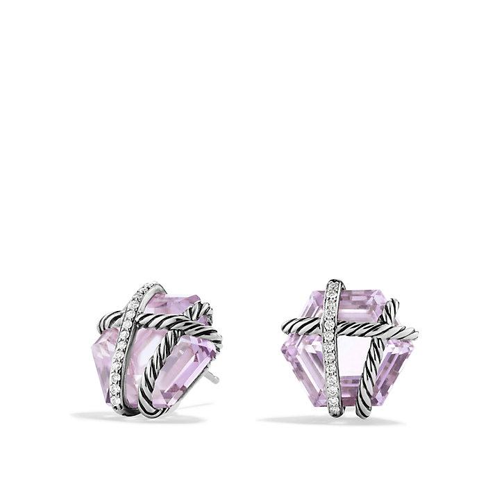 david yurman cable wrap earrings with diamonds in purple