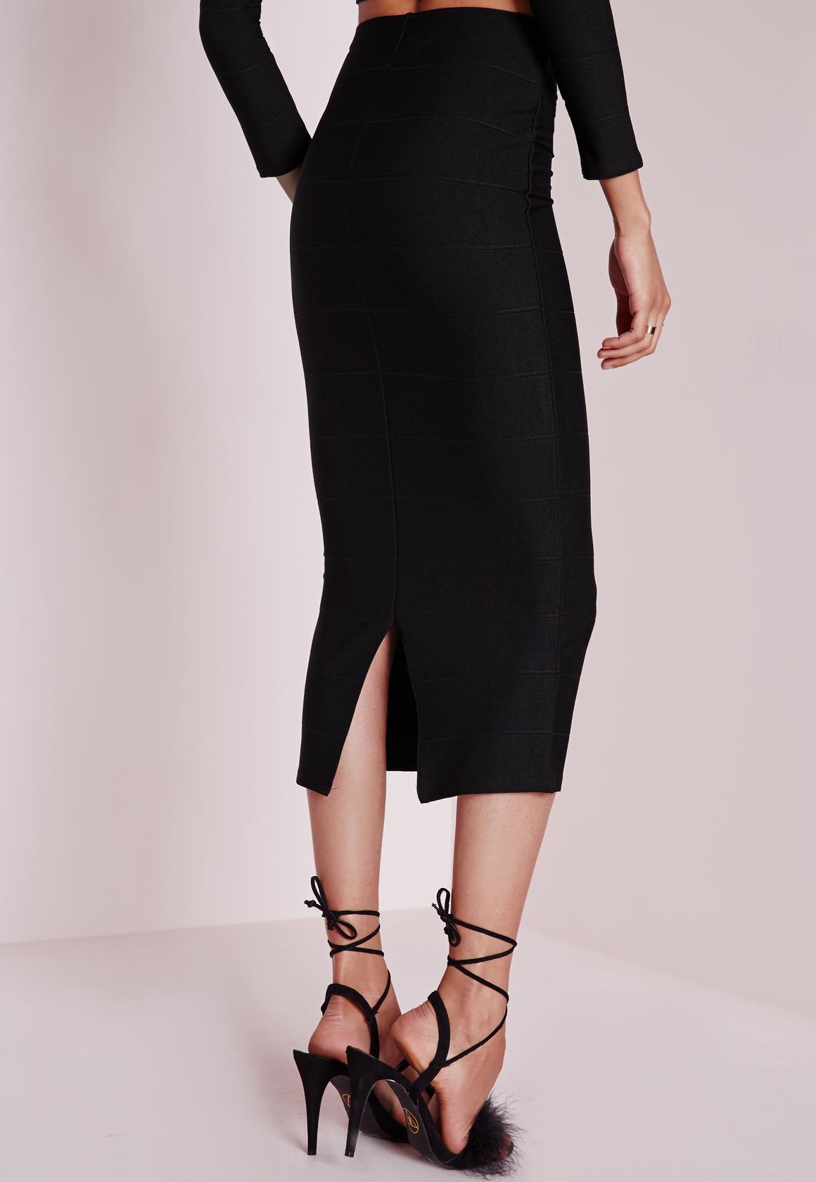 missguided longline bandage midi skirt black in black lyst