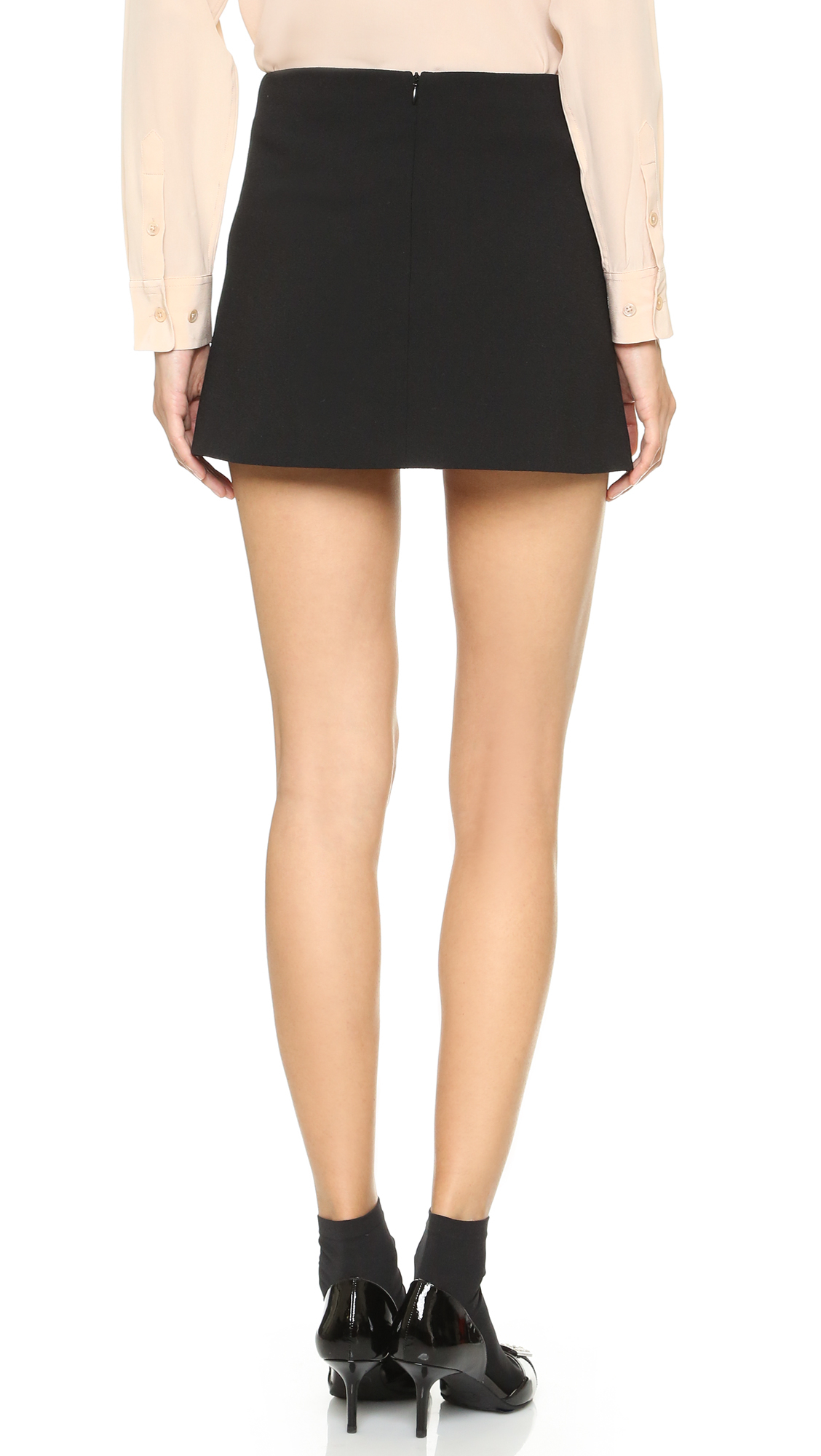 valentino skirt with front pleat in black lyst