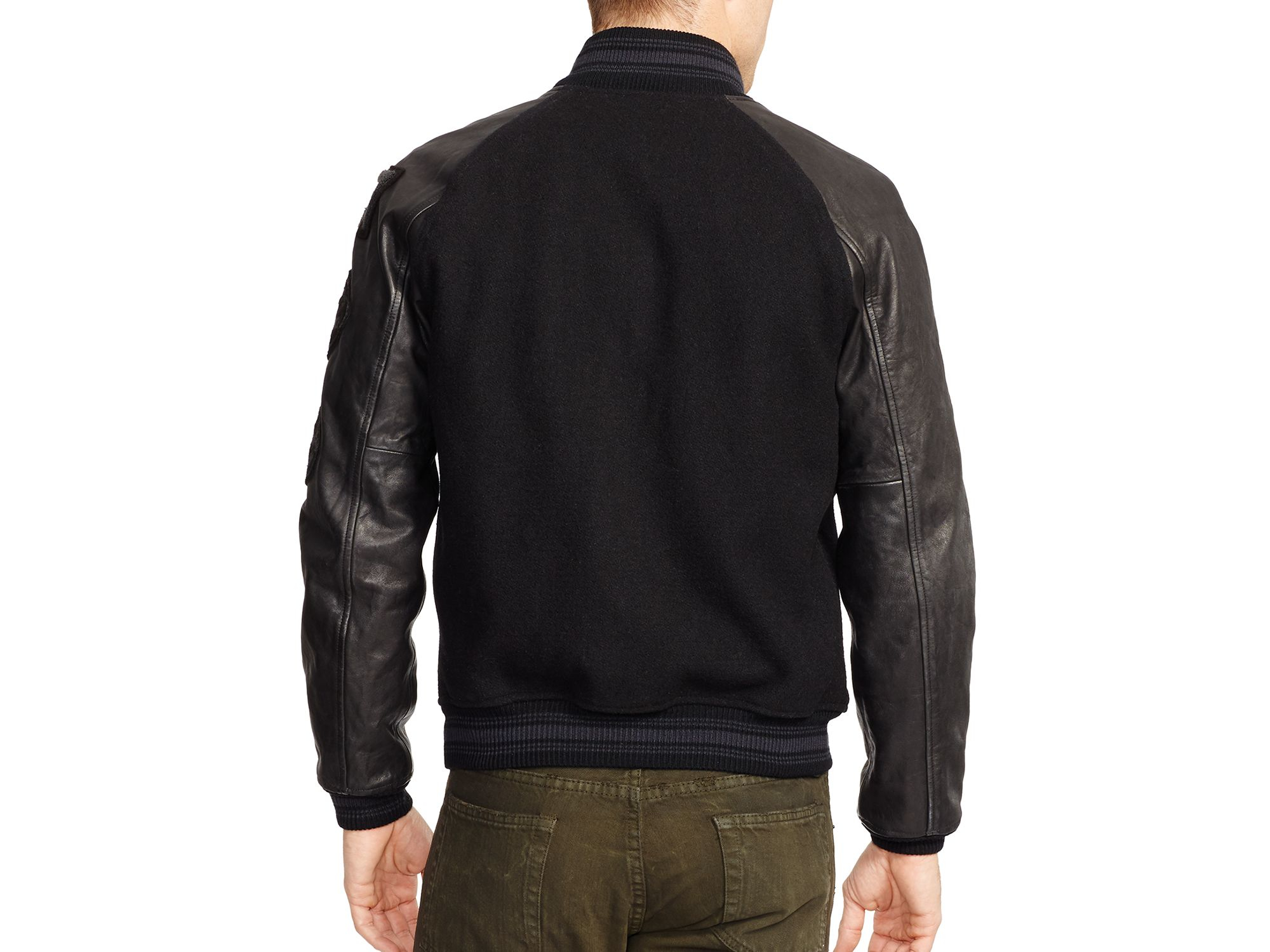 lyst ralph lauren polo wool and leather varsity jacket. Black Bedroom Furniture Sets. Home Design Ideas