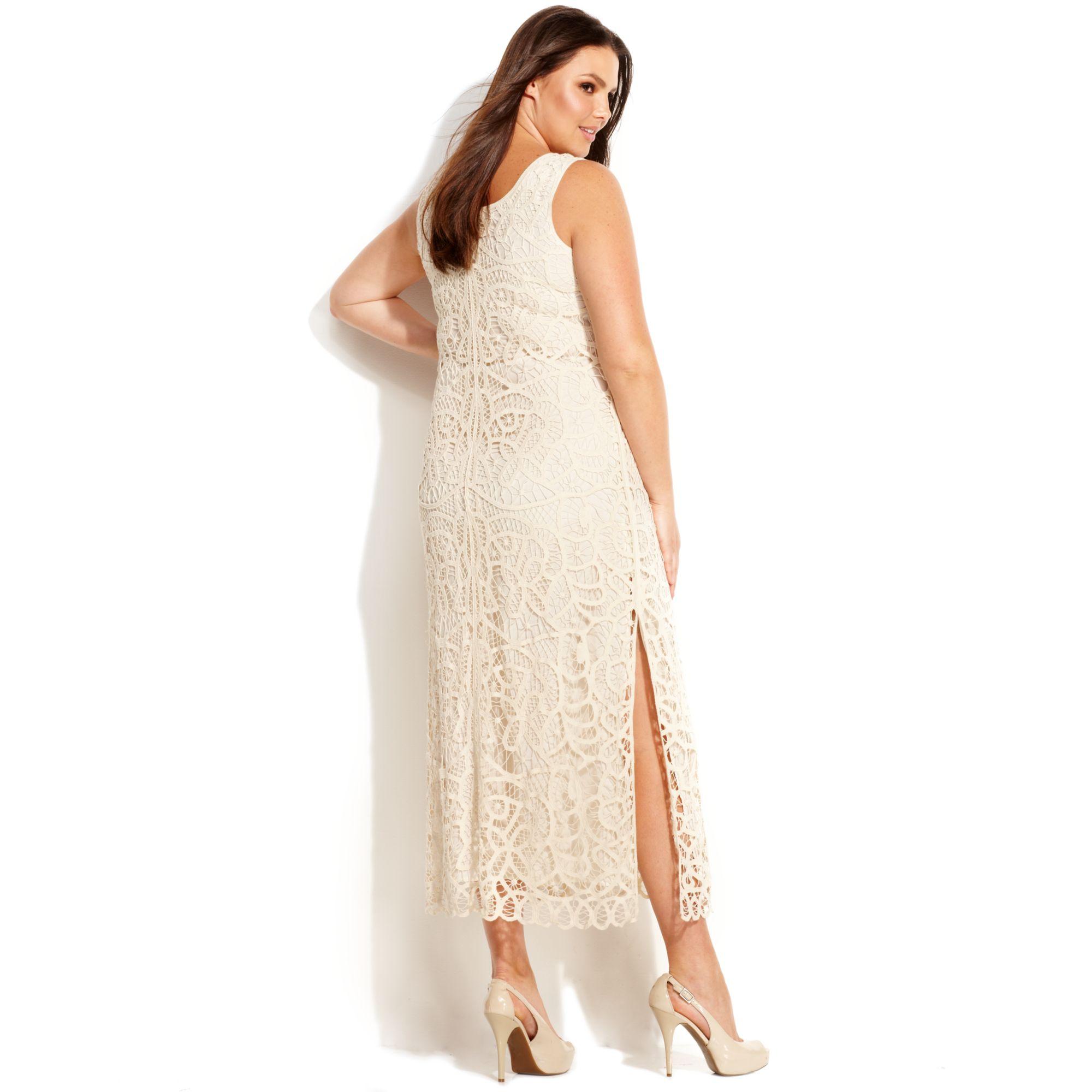 INC International Concepts Plus Size Sleeveless Crochet Maxi Dress ...