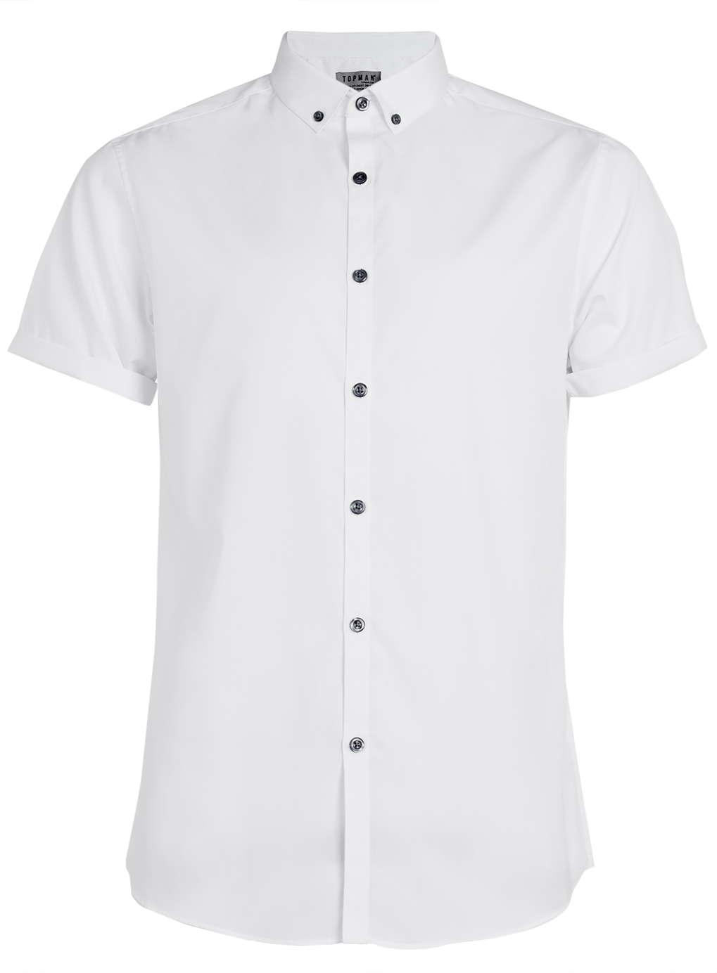 topman white short sleeve button down smart shirt in white ForWhite Short Sleeve Button Down Shirts For Men