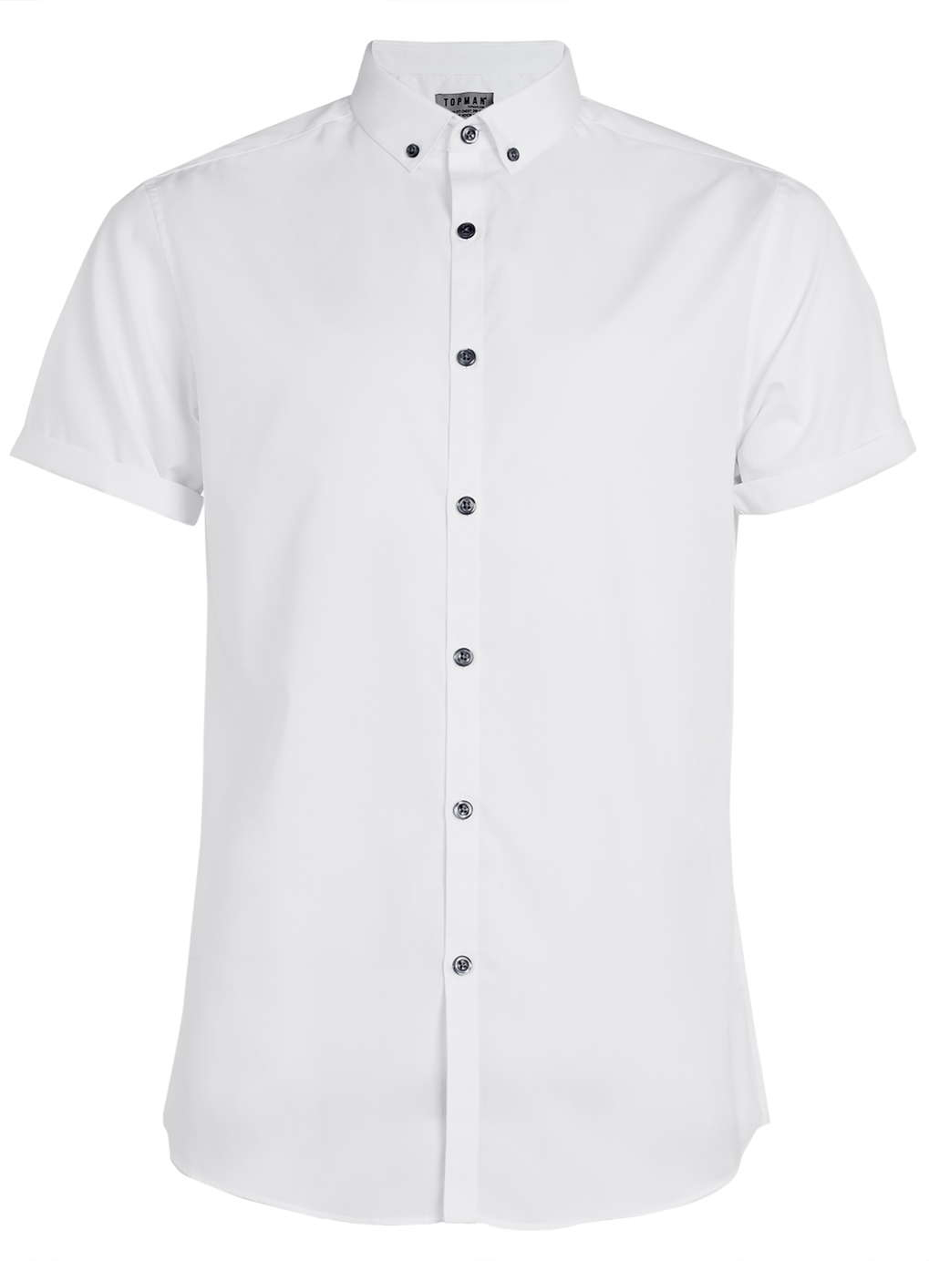 topman white short sleeve button down smart shirt in white