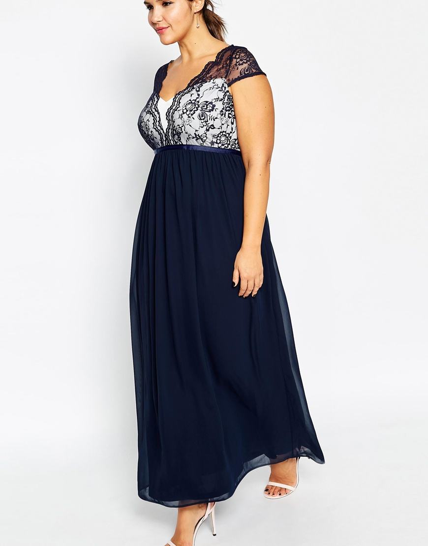 Asos Curve Scalloped Lace Maxi Dress in Blue | Lyst