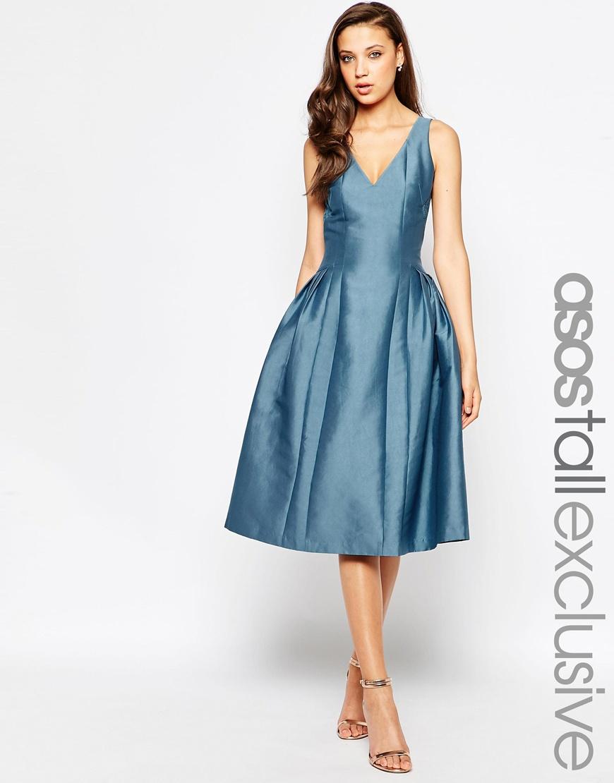 Lyst - Asos Tall Salon Lace Insert Plunge Midi Dress in Blue