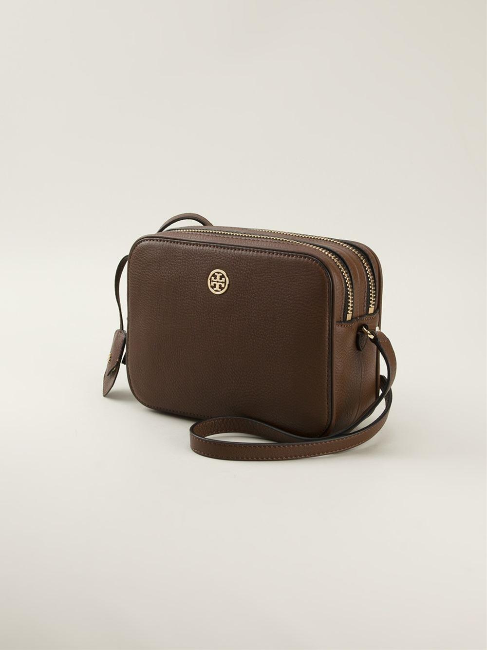 3fef4a1e9cbb Lyst - Tory Burch Robinson Double Zip Crossbody Bag in Brown