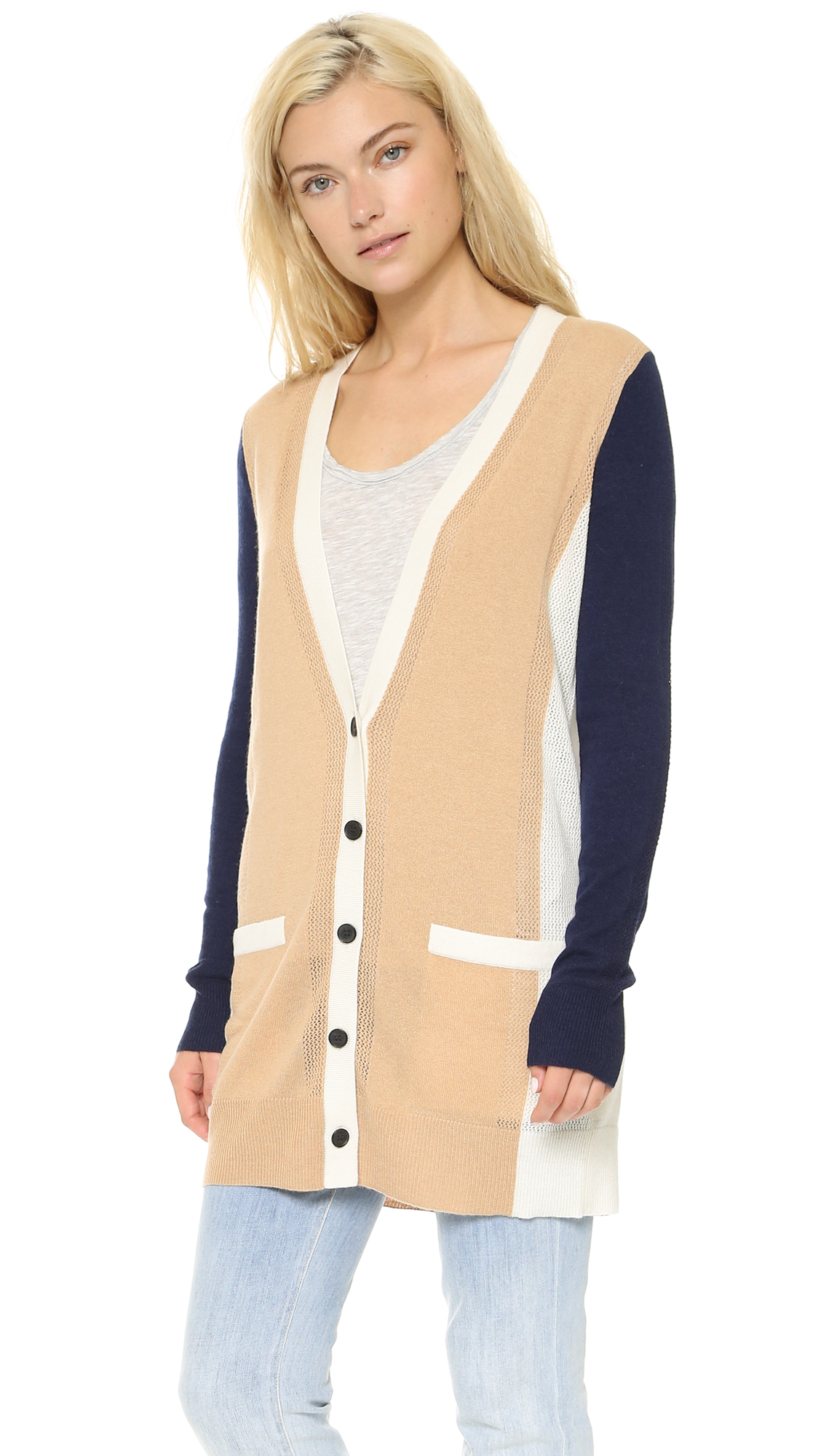 Vince Colorblock Cashmere Cardigan - Camel/blue Marine in Natural ...