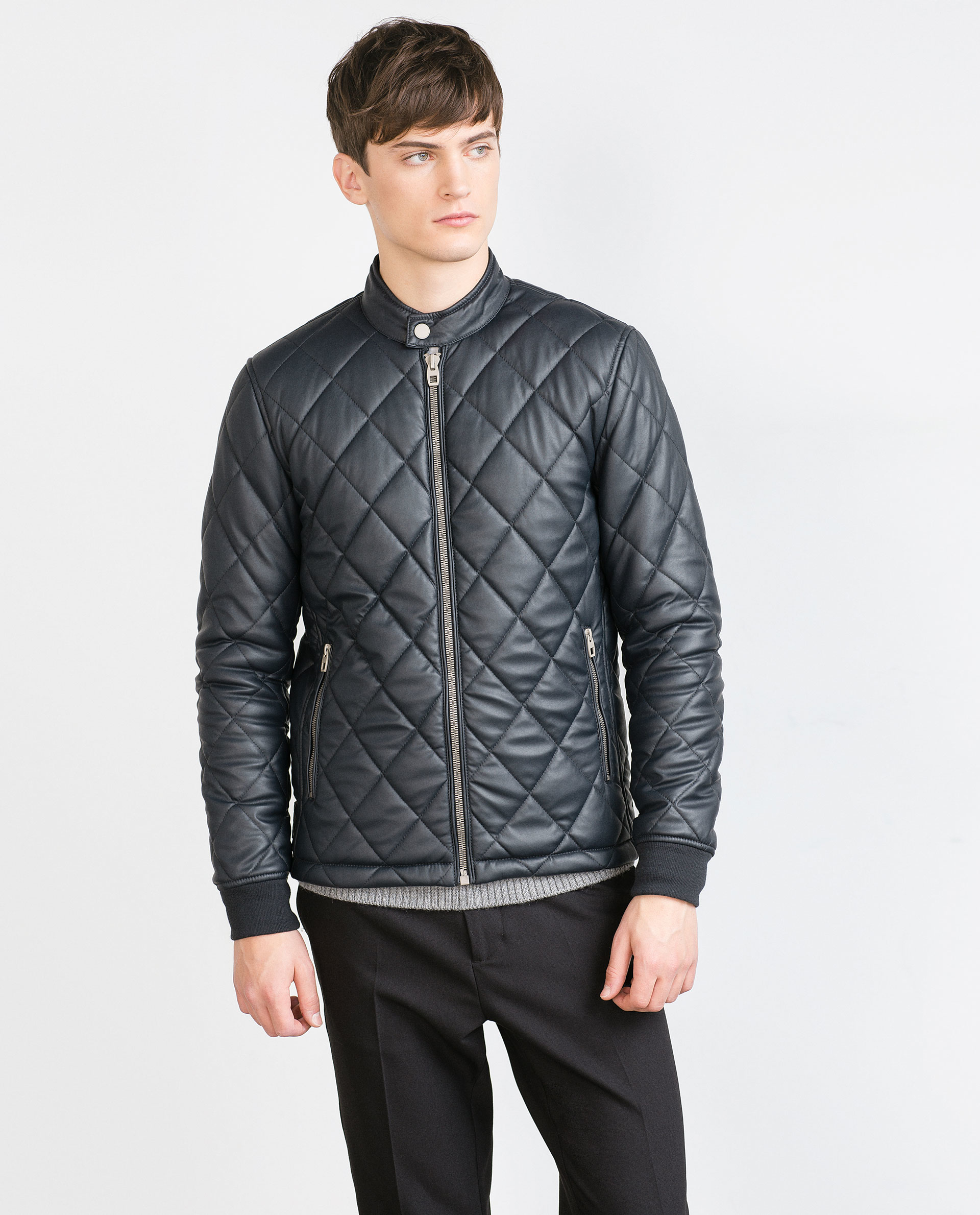 Zara Faux Leather Quilted Jacket In Blue For Men Lyst