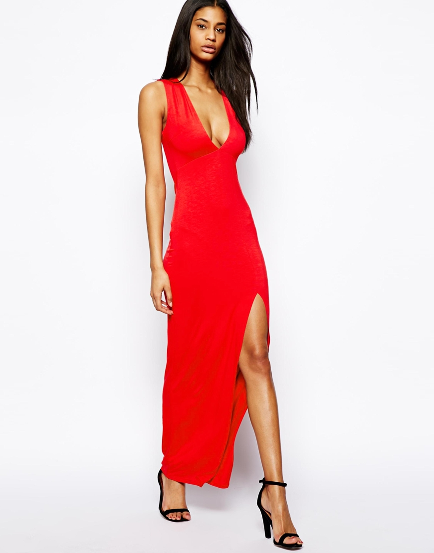 asos sleeveless maxi dress with deep plunge in red lyst. Black Bedroom Furniture Sets. Home Design Ideas