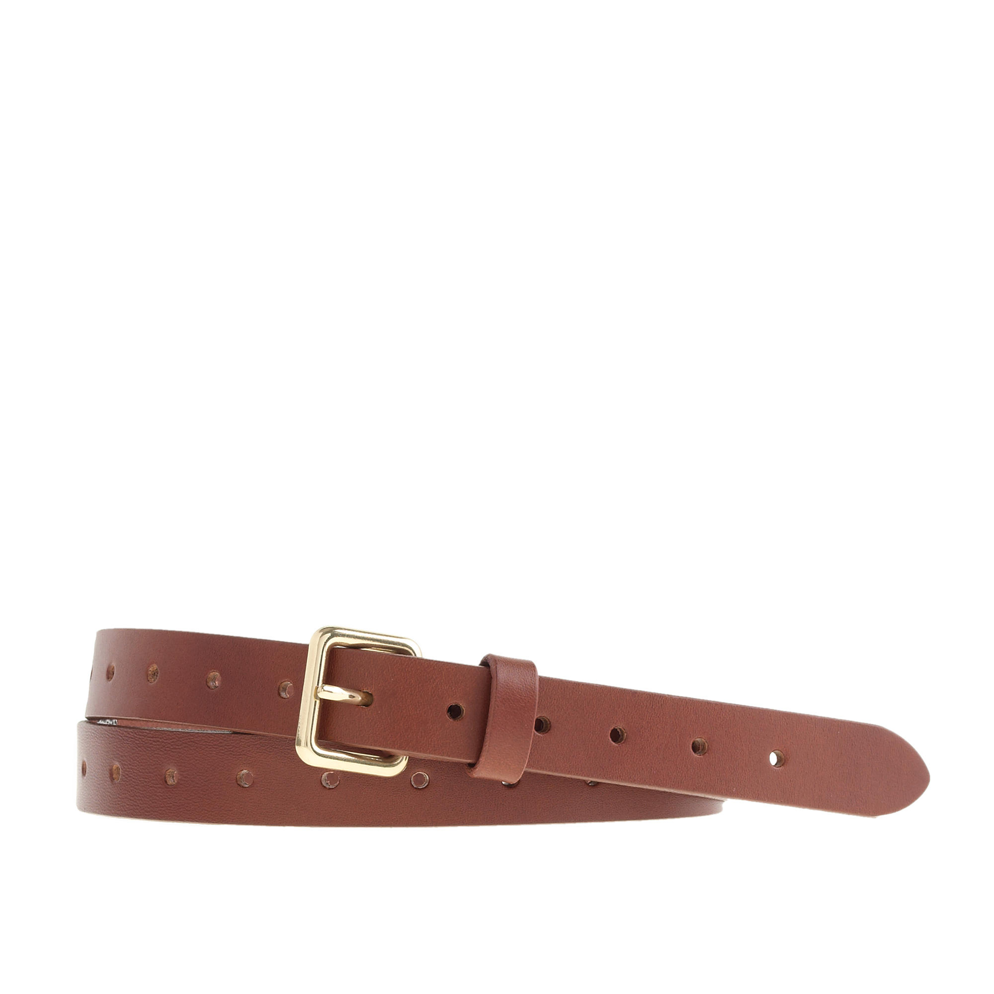 j crew perforated leather belt in brown warm sepia lyst