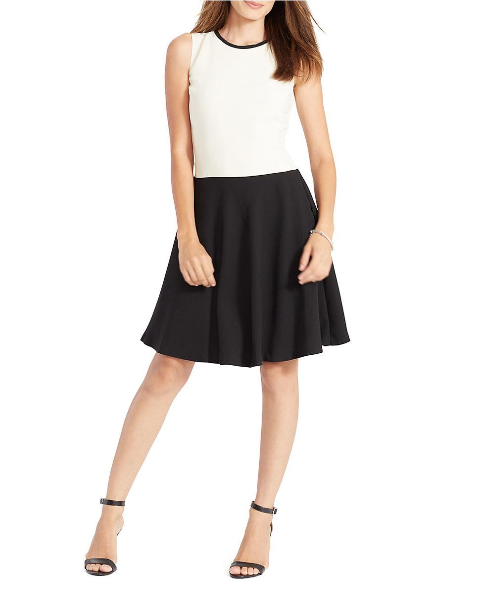 Lauren by ralph lauren Plus Faux-leather Sleeveless Yoke Sheath Dress in  Black  95b3aedb1fc0b