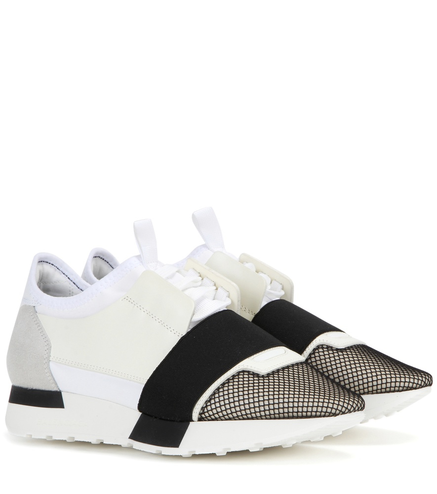 Lyst - Balenciaga Race Runner Leather Sneakers in White 9e15dea81