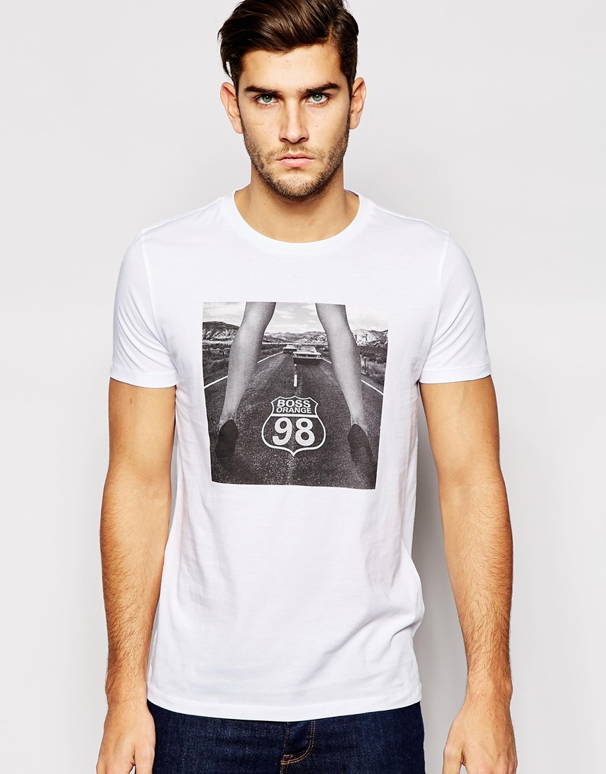 boss orange t shirt with route 98 print in white for men. Black Bedroom Furniture Sets. Home Design Ideas