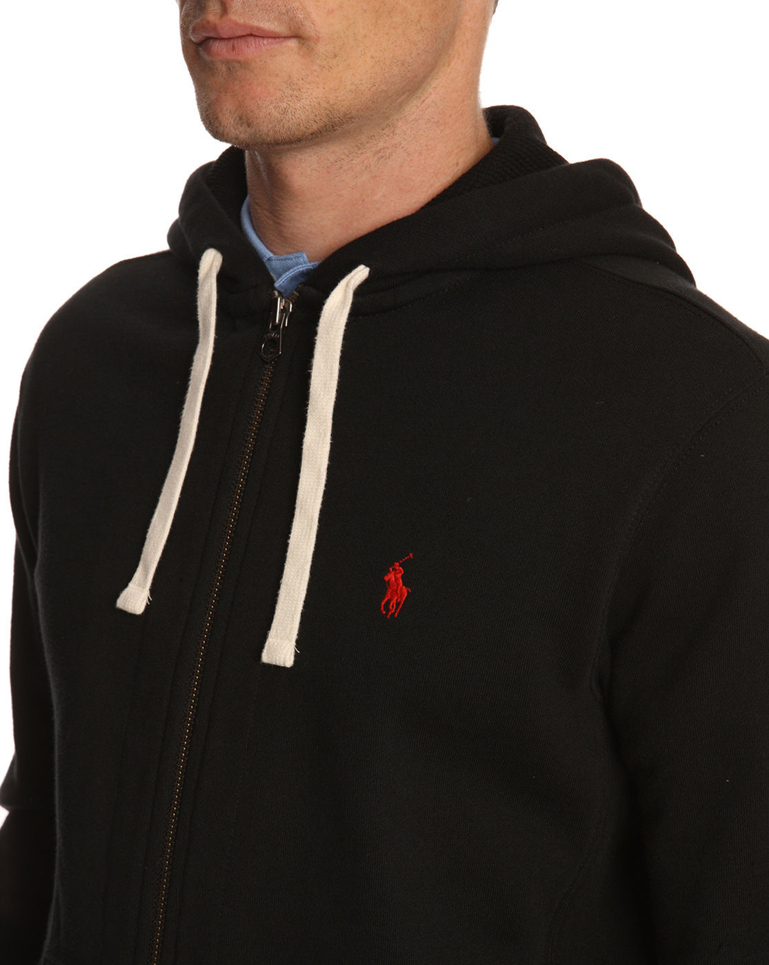 polo ralph lauren black zipped sweatshirt in black for men. Black Bedroom Furniture Sets. Home Design Ideas