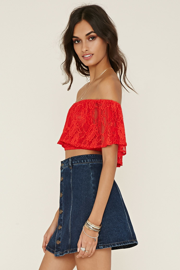 03ef57e8a394c Forever 21 Off-the-shoulder Lace Top in Red - Lyst