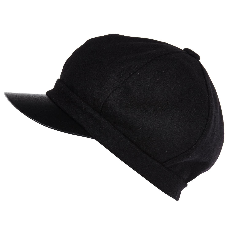 River Island Black Leather-Look Peak Baker Boy Hat in ...