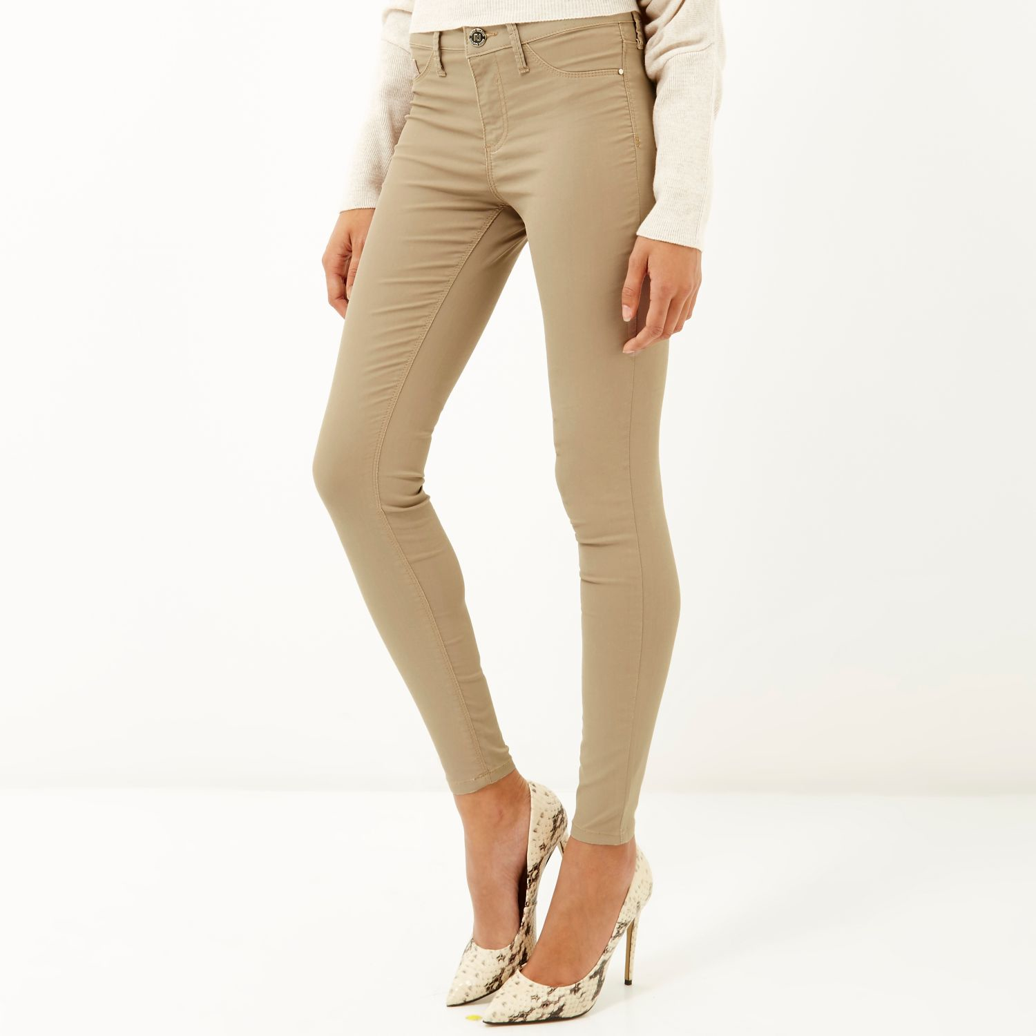 d7642764dc2ce River Island Camel Molly Jeggings - Lyst