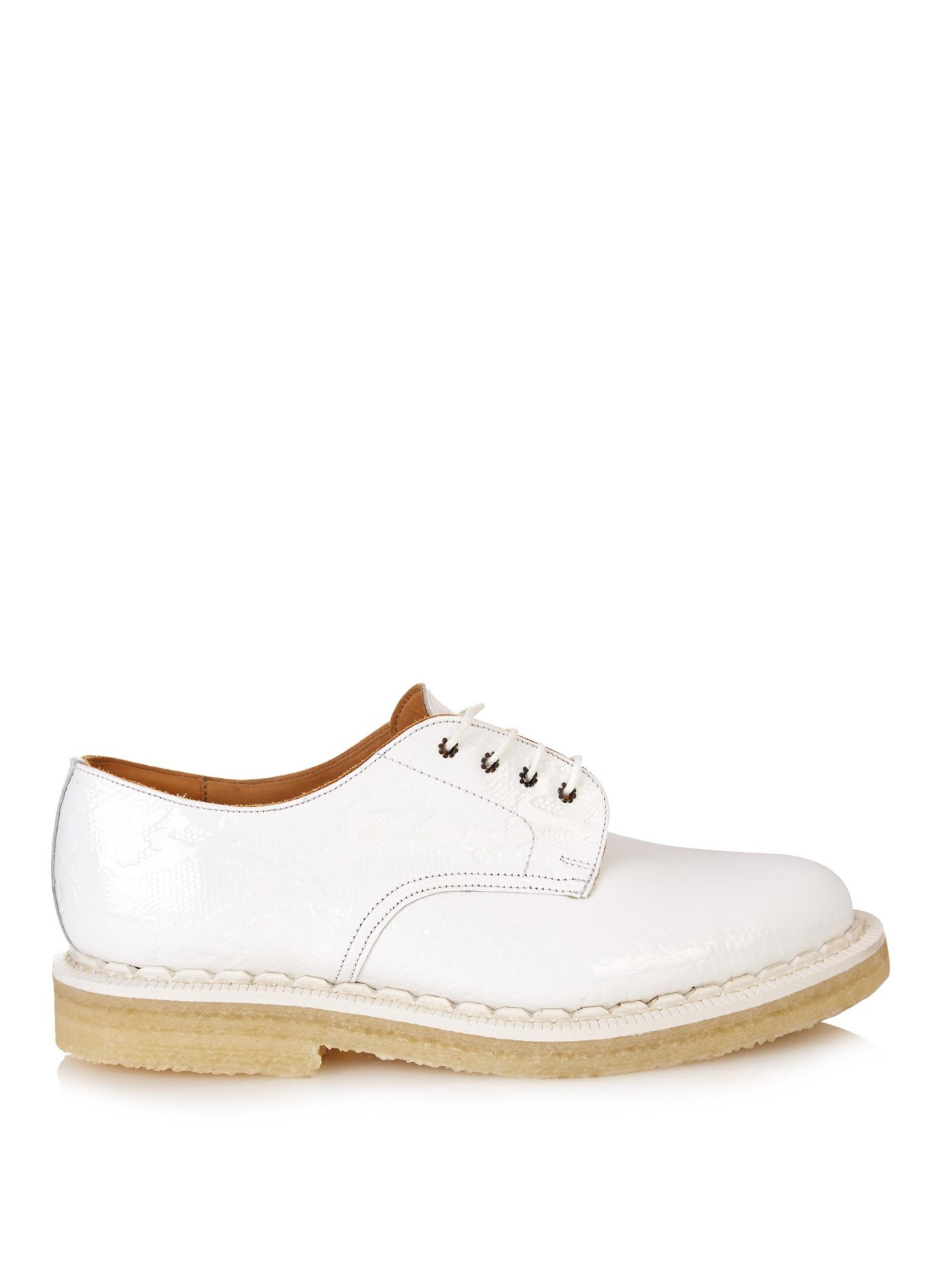 purified leather lace up shoes in white lyst