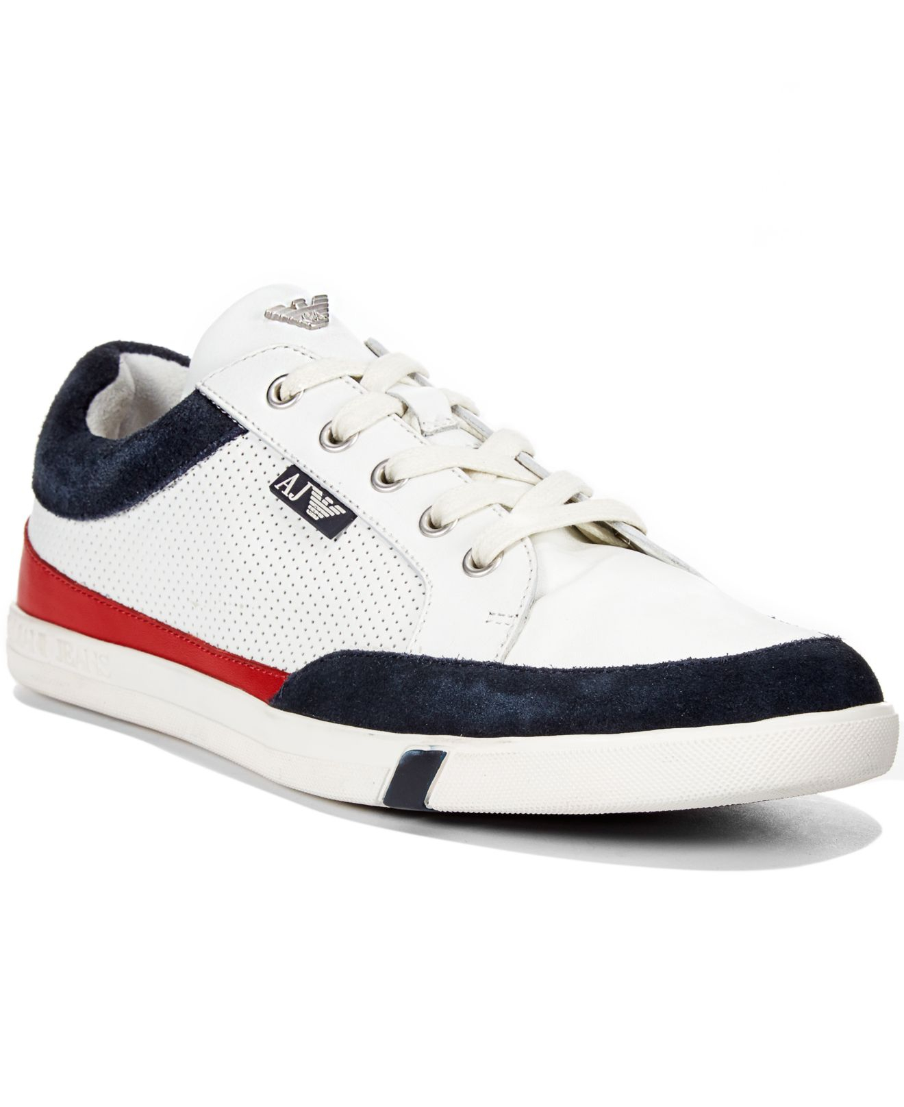 821b653fb59a Lyst - Armani Jeans Low Top Perforated Leather Sneakers in White for Men