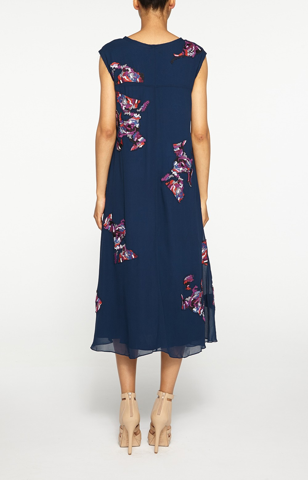 Lyst nicole miller floral embroidered midi dress in blue