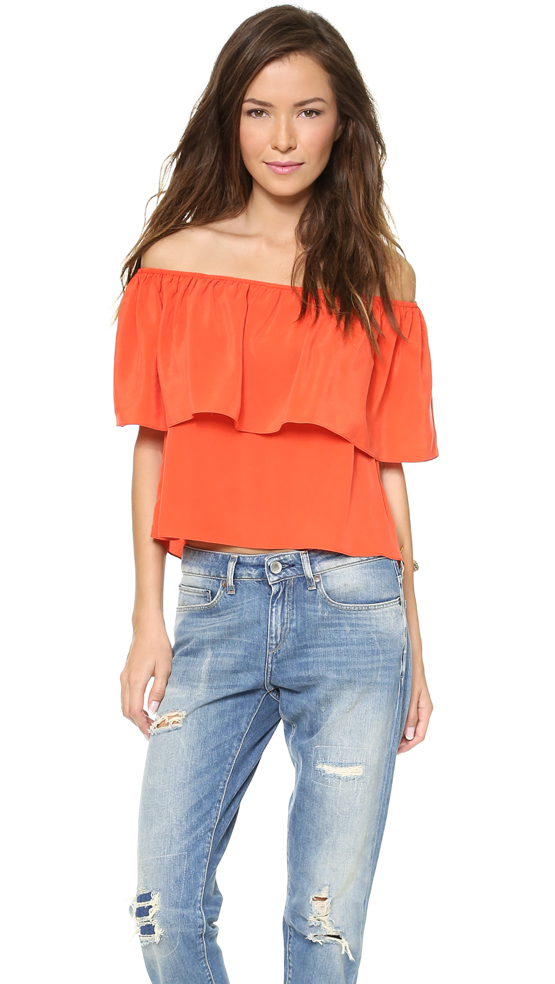 The Top 10 Fashion Trends Of 2012: Rebecca Minkoff Dev Off The Shoulder Top Navy In Orange