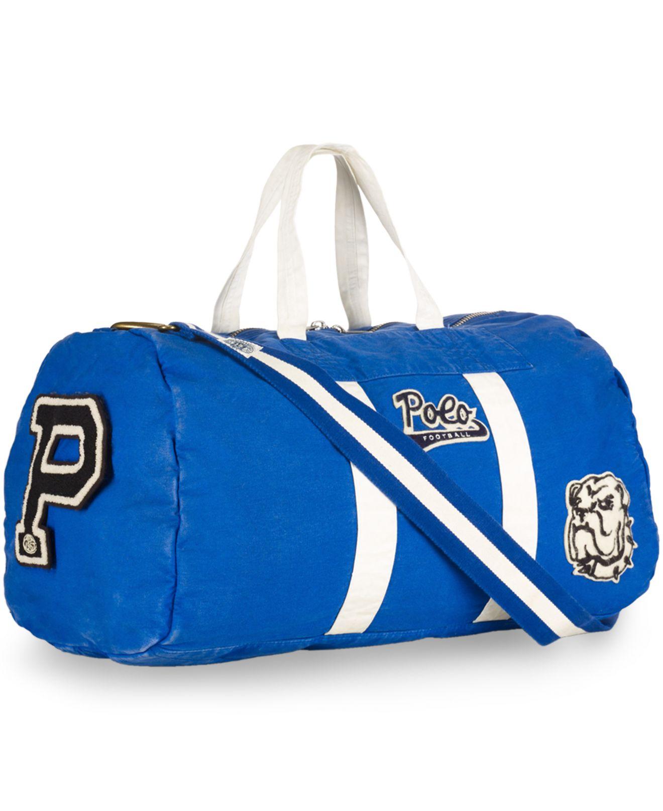 5e0da74a8889 Lyst - Polo Ralph Lauren Canvas Football Duffel Bag in Blue for Men