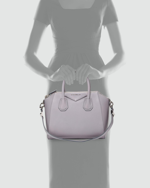 Givenchy Antigona Small Sugar Goatskin Satchel Bag Light Gray in ... ea490c3c6295d
