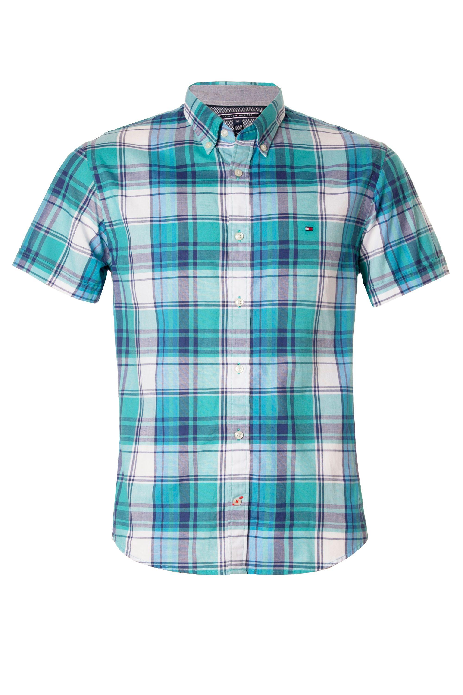 tommy hilfiger lars short sleeve shirt in blue for men lyst. Black Bedroom Furniture Sets. Home Design Ideas