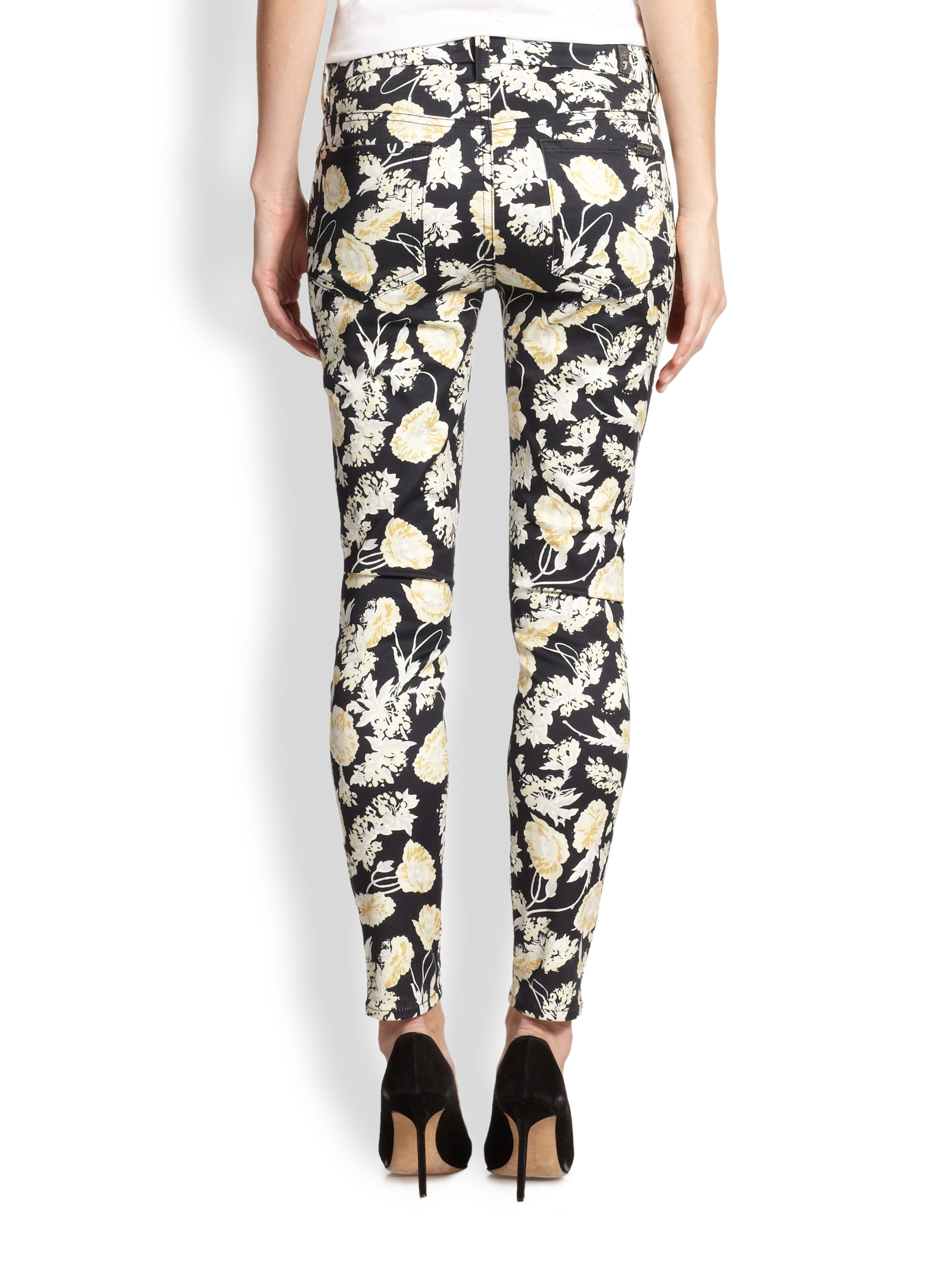 7 for all mankind Skinny 28 Floral Print Jeans in Black | Lyst