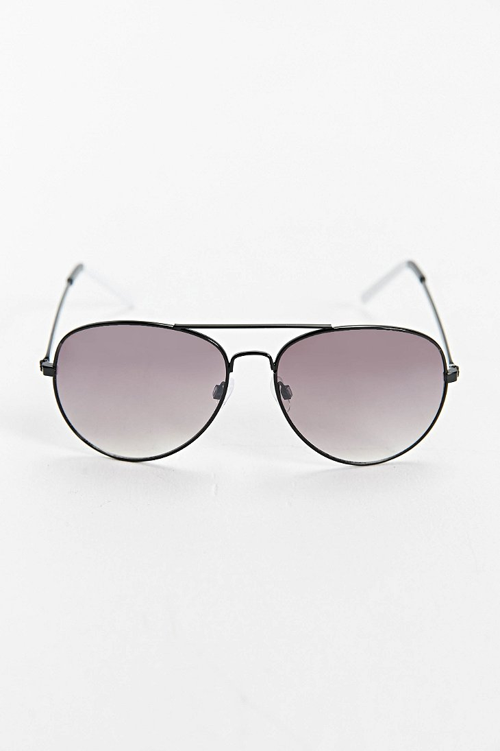 Urban Outfitters Black White Tip Aviator Sunglasses In