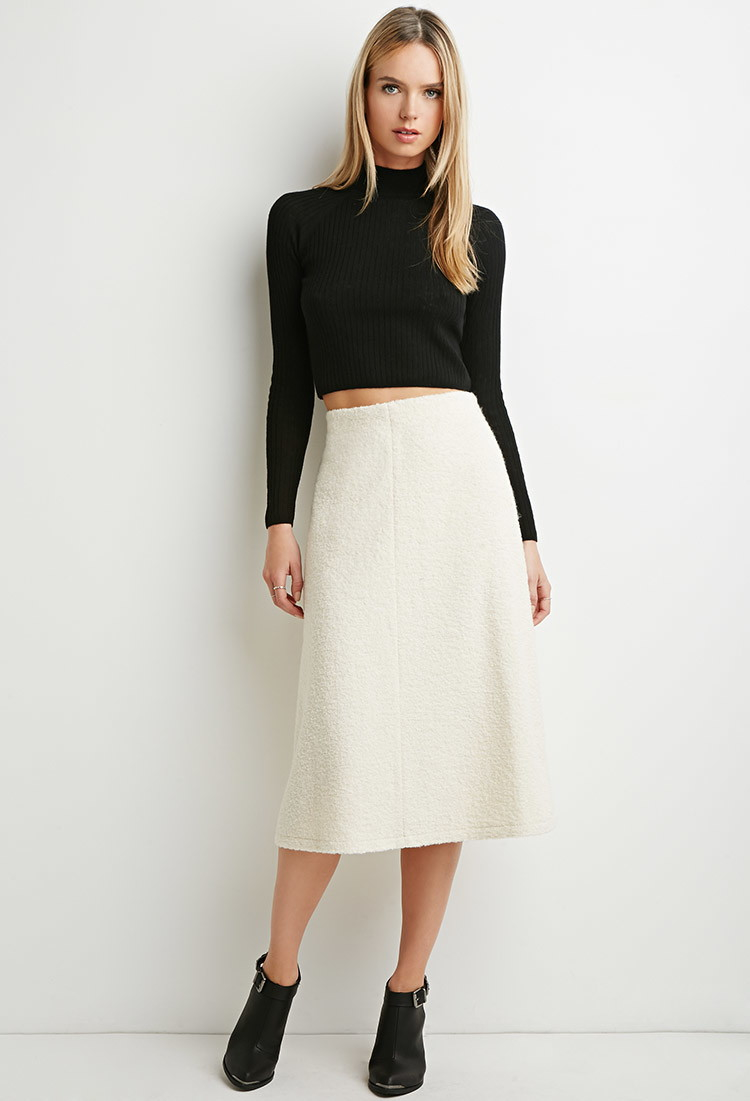 8176bb78bc Forever 21 Contemporary A-line Midi Skirt in Natural - Lyst