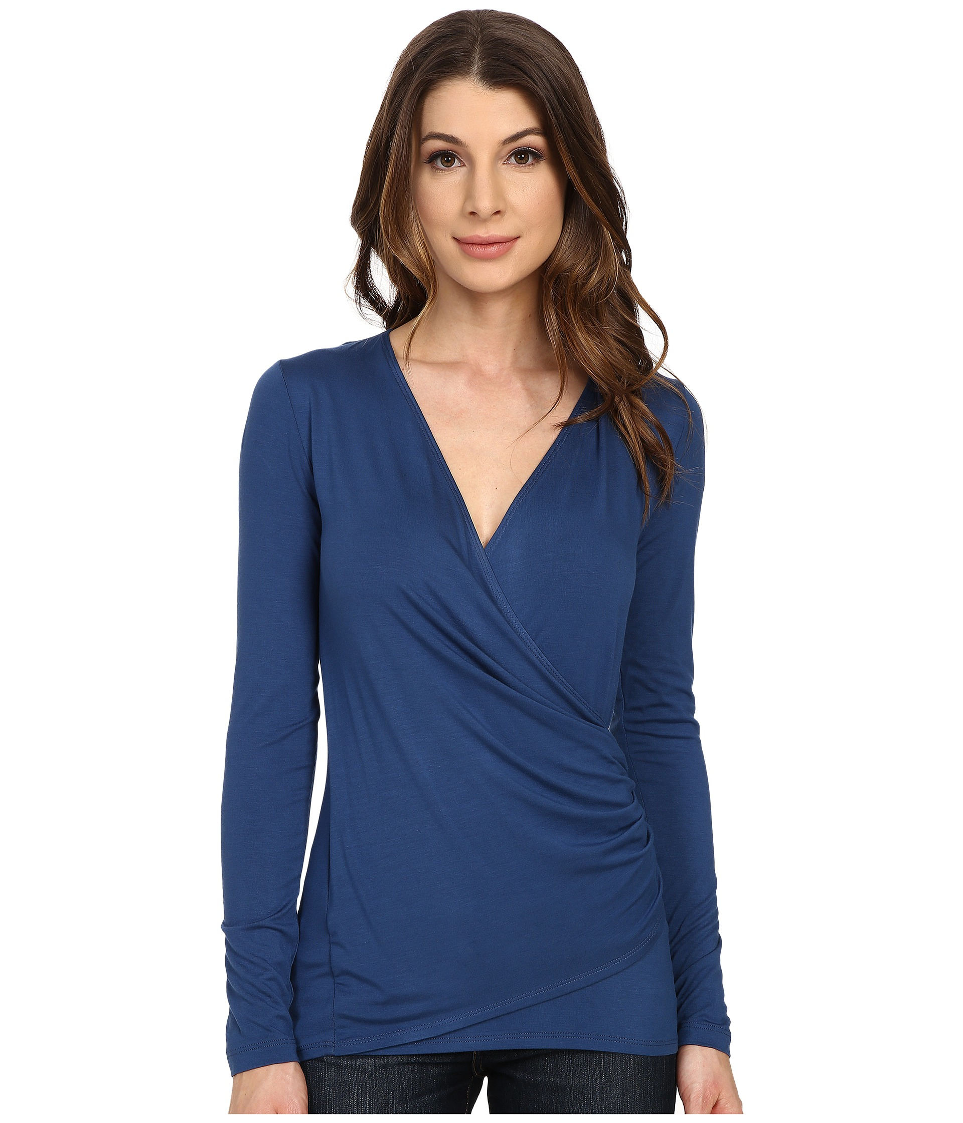 Karen kane Long Sleeve Faux Wrap Top in Blue | Lyst