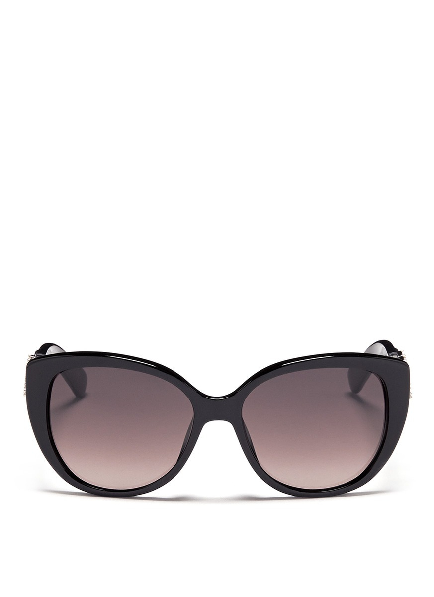 d5cc268f59d4f Dior Floral Strass Temple Cat Eye Sunglasses in Black