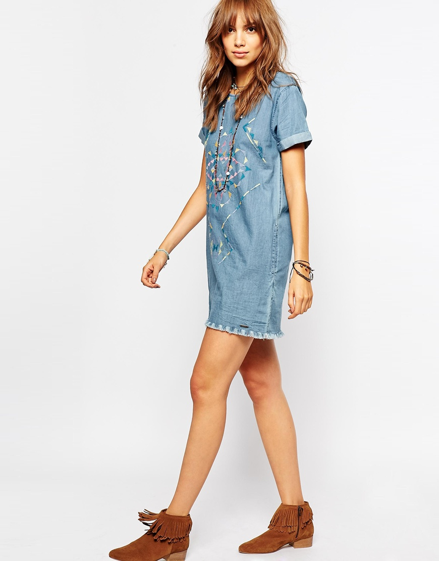 Pepe jeans embroidered denim dress with raw edge detail in