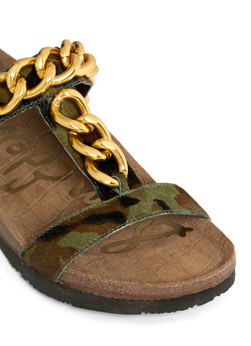 ff08744936685f Lyst - Sam Edelman Allyn Chain Detail Camouflage Sandals in Metallic