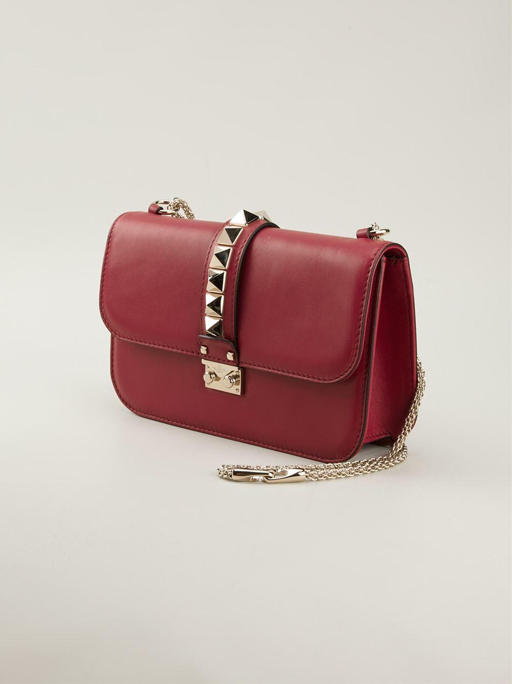 valentino medium glam lock shoulder bag in red lyst. Black Bedroom Furniture Sets. Home Design Ideas
