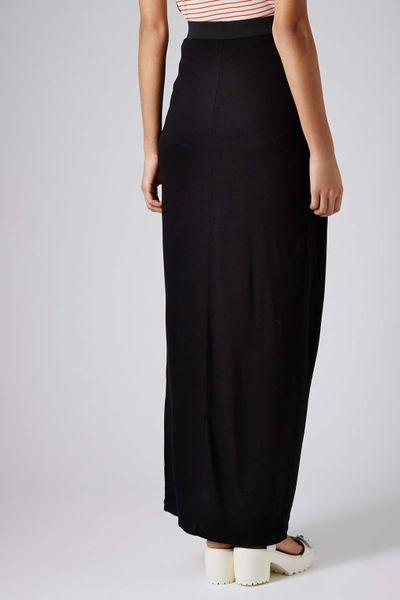 topshop black jersey drape maxi skirt in black lyst