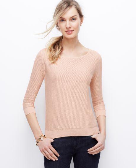 ann taylor petite mesh stitch sweater in pink buff beige lyst. Black Bedroom Furniture Sets. Home Design Ideas