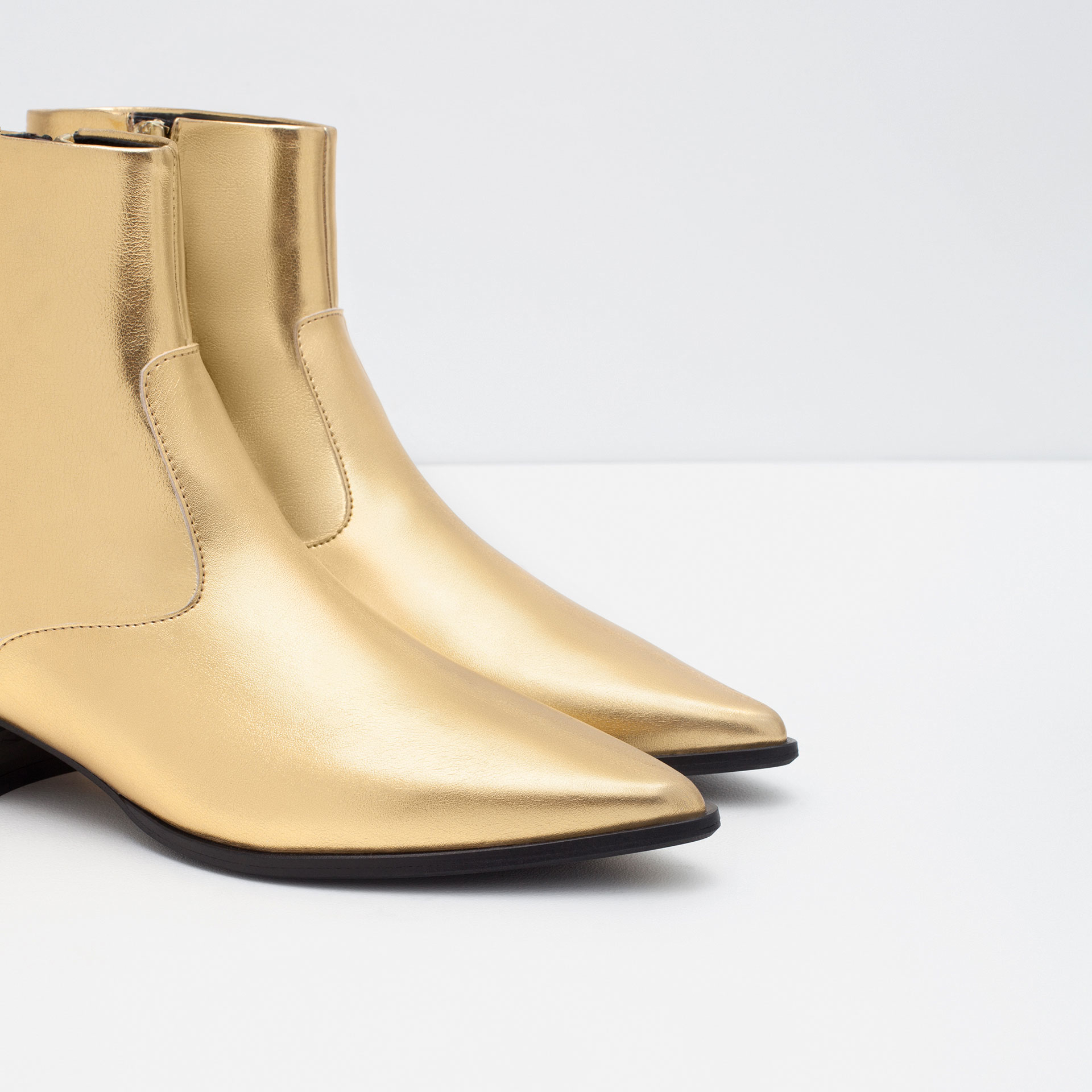 Zara Gold Tone Flat Ankle Boots in Metallic | Lyst