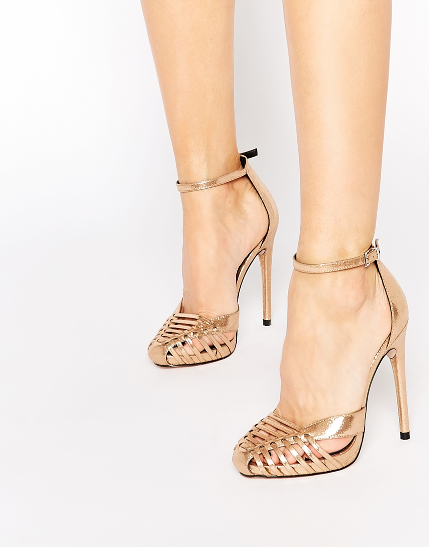 Asos Petal Caged Heels in Metallic  Lyst