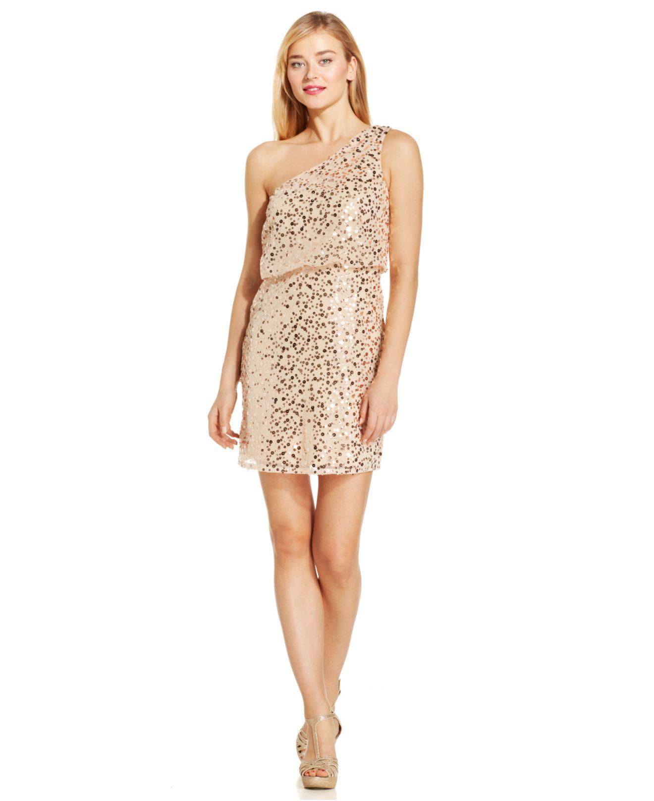 Js boutique One-Shoulder Sequin Blouson Dress in Metallic  Lyst