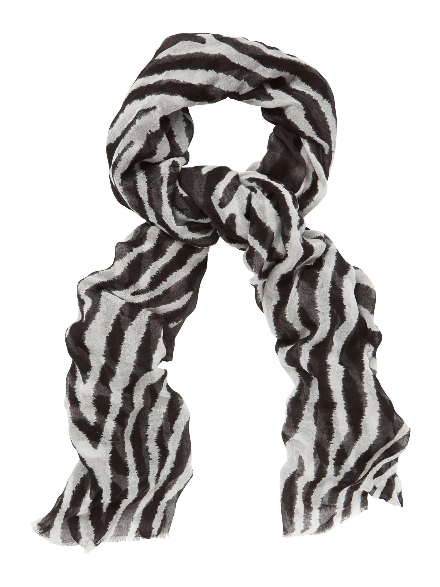 jaeger black zebra print scarf lyst