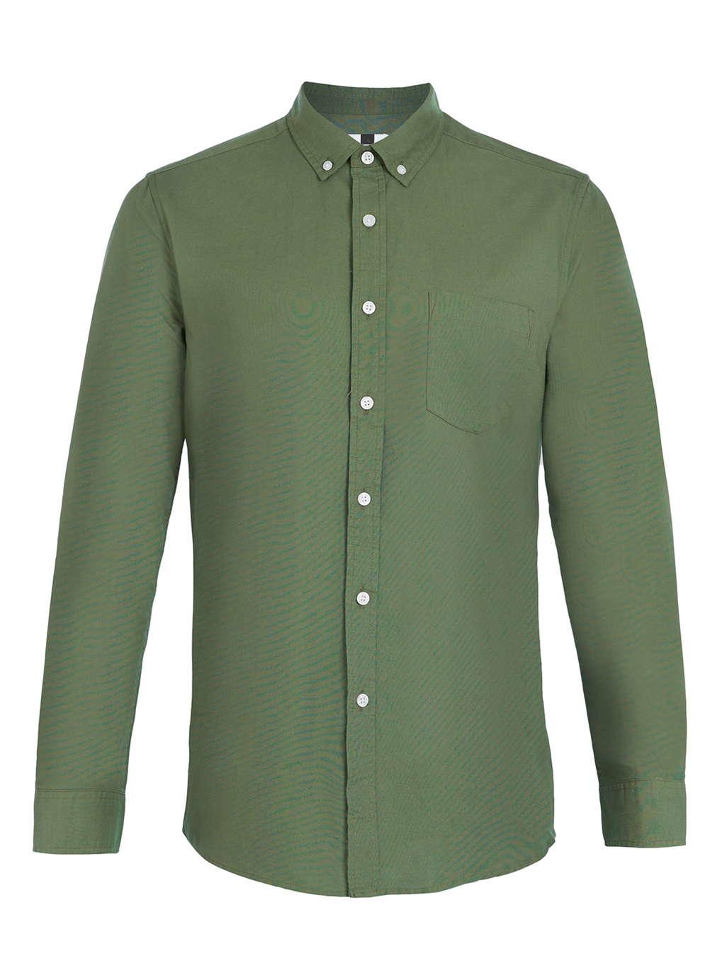 Topman khaki oxford long sleeve casual shirt in green for for Long sleeved casual shirts