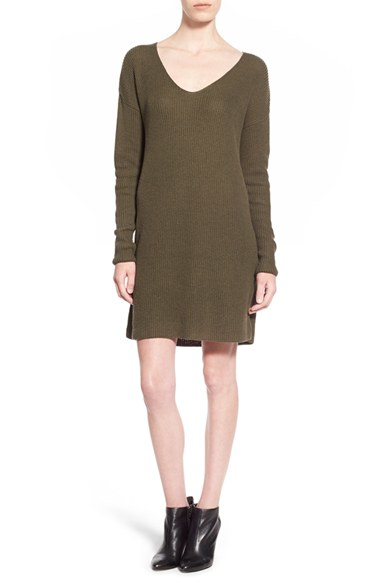 3369656fae4 Lyst - Leith V-neck Sweater Dress in Green