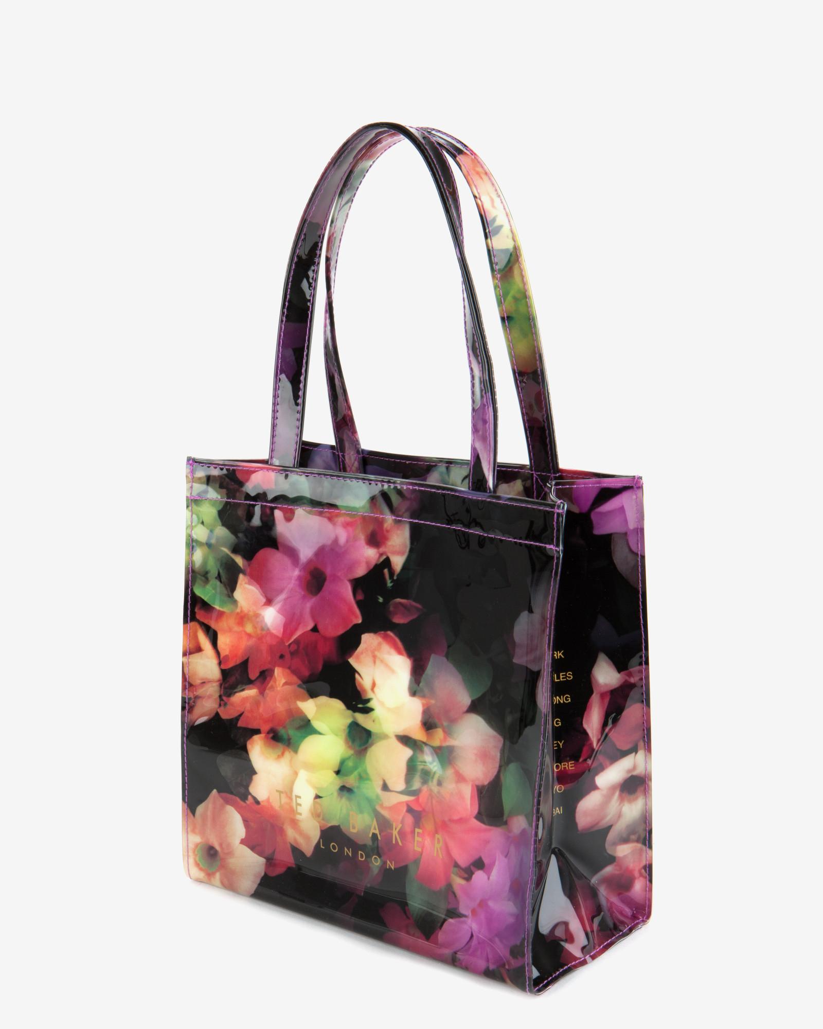 defe767dd3bb6 Ted Baker Small Cascading Floral Shopper Bag in Black - Lyst