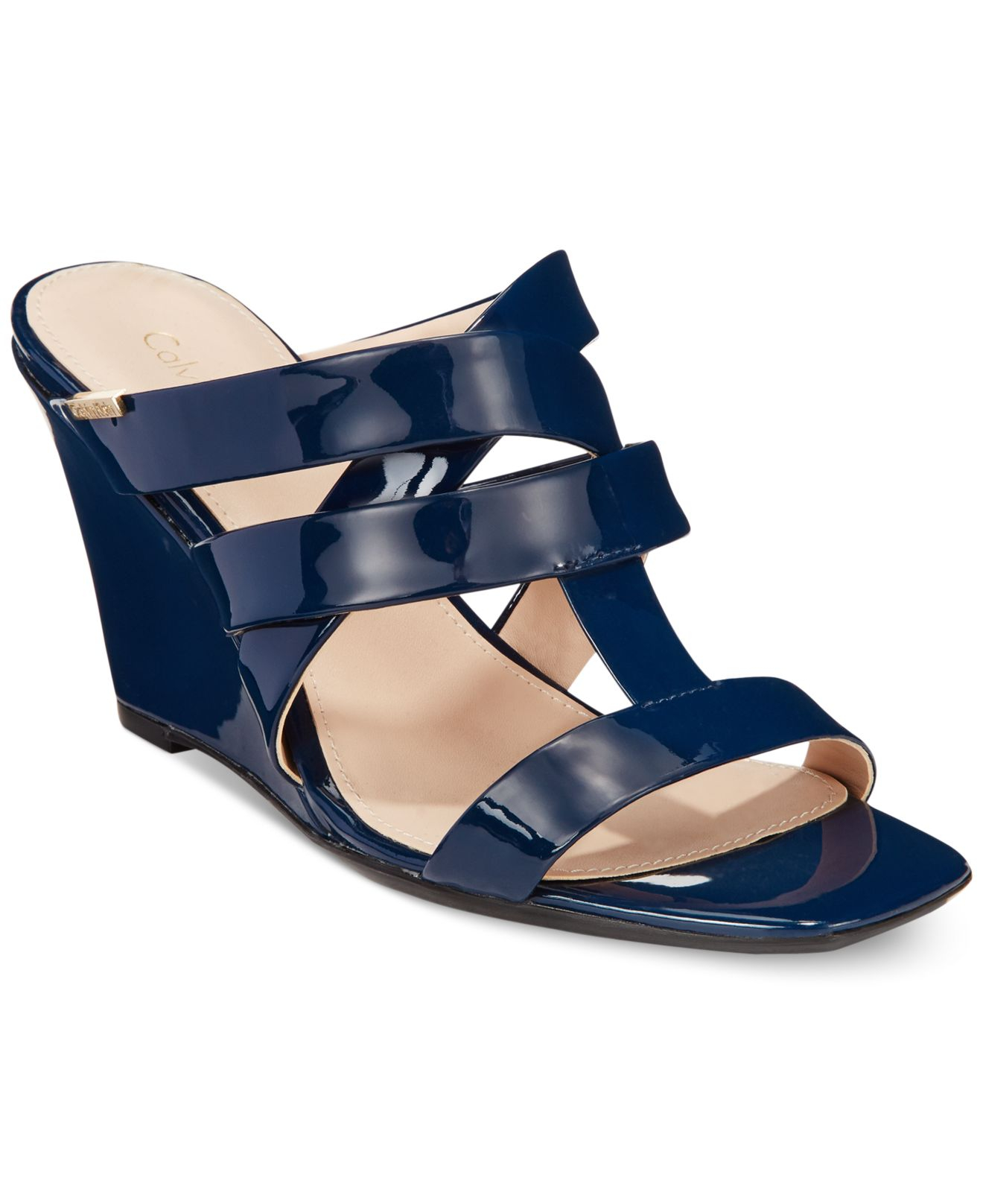dd29a812e3cfd3 ... Lyst Calvin Klein Women S Nona Wedge Sandals In Blue great fit 89919  36a64 ...