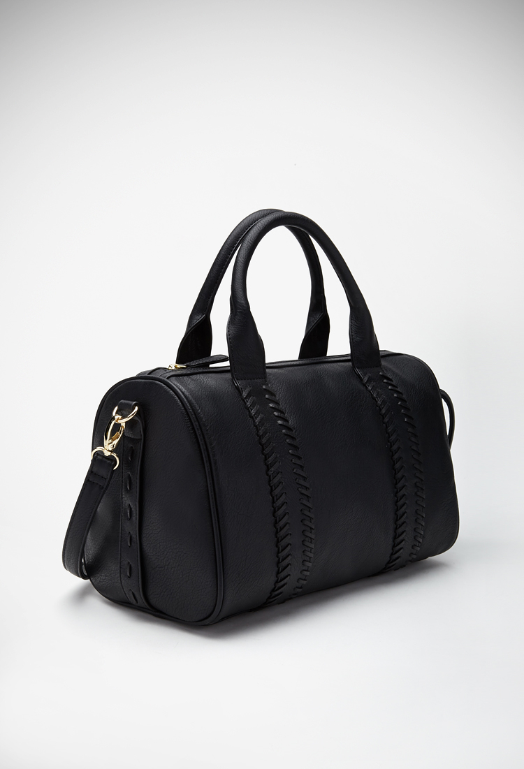 Forever 21 Stitched Faux Leather Satchel in Black   Lyst