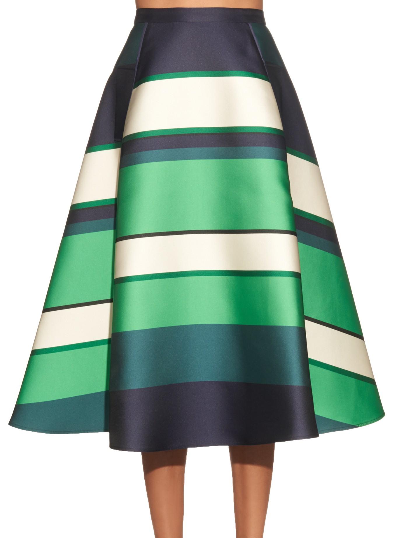 Lanvin Duchesse Stripe Berlingot A-line Skirt in Green | Lyst