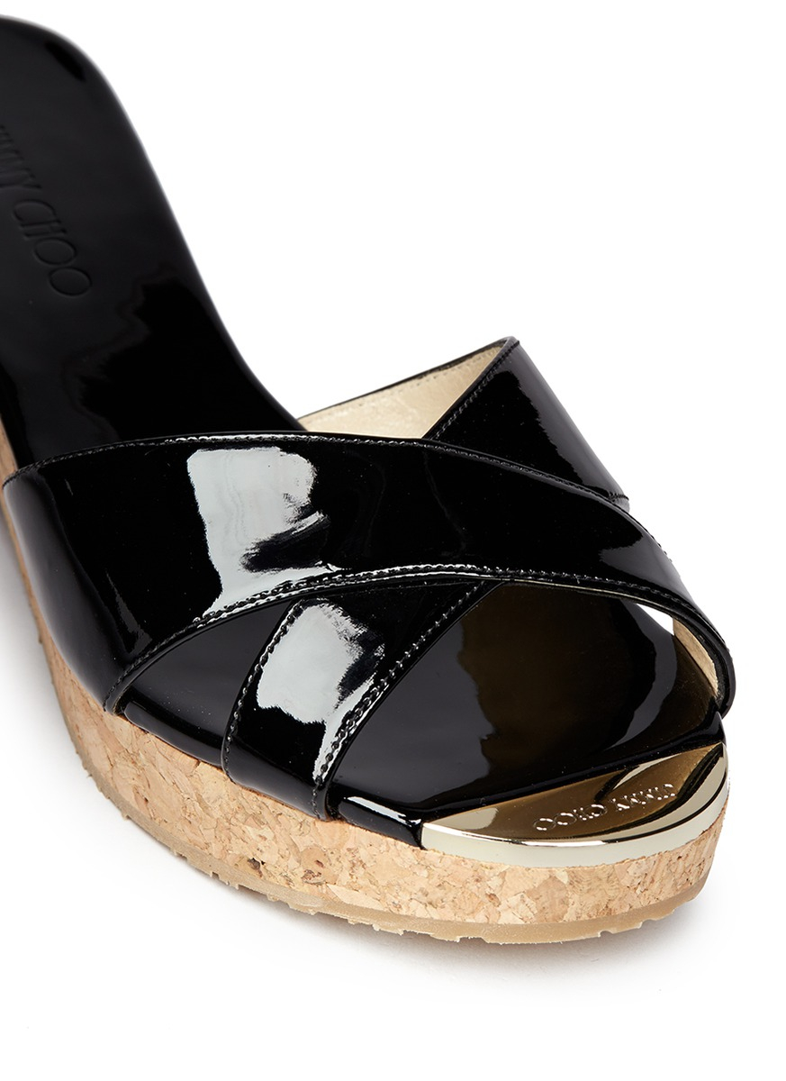 Jimmy Choo Panna Cork Wedge Patent Leather Sandals Lyst